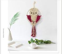 el yapımı hayvan pamuğu toptan satış-Pamuk halat örme goblen Yaratıcı Baykuş Sevimli hayvanlar el yapımı duvar asma Pamuk örme Baykuş Kolye Dekoratif Nesneleri