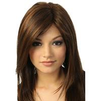 super long cheveux bruns achat en gros de-Vente en gros livraison gratuite Détails sur Brown Girl Parti Naturel Perruque Long Full Straight Hair Mode Perruque Synthétique Super