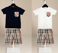 Wholesale retail girl shirt for sale - Group buy Retail boys girls sets Baby kids Pieces sets plaid pocket short sleeved shirt plaid shorts kids clothing tops pant