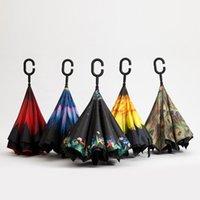 ingrosso ombrelloni in nylon-Ombrelli invertiti Ombrello doppio strato con impugnatura a C rovescio antivento Colorato piovoso Soleggiato Ombrellone da sole Pioggia antipioggia Sole