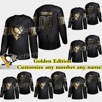 camisetas de pittsburgh 58 al por mayor-Pittsburgh Penguins Golden Edition 87 Sidney Crosby 71 Evgeni Malkin 58 Kris Letang Personaliza cualquier número cualquier nombre camisetas de hockey