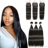 Wholesale human hair wigs short light brown resale online - Remy Straight Hair Bundles With Closure Peruvian Hair Bundles With Closure Human Hair Bundles With Closure Alipop