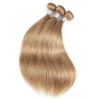 cabello humano liso de 16 pulgadas al por mayor-Ash Blonde por mayor paquetes de pelo humano # 8 # 27 # 30 del pelo brasileño recto 10 extensiones de lotes pelo humano de Remy 16-24 pulgadas