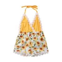 meninas bebê halter romper venda por atacado-Bebê recém-nascido roupas meninas girassol romper mangas decote em v cabresto sem encosto macacão roupas roupas baby girl