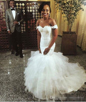 Wholesale sale off wedding dresses for sale - Group buy 2018 Gorgeous Off The Shoulder Wedding Dresses Tiered Skits Tulle Lace Appliques Mermaid Style Bridal Gown Custom Made Hot Sale