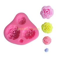 fondant de rosas al por mayor-Molde de silicona rosa 3D Fondant Decoración de pasteles Molde de Sugarcraft de chocolate Moldes de fabricación de jabón estéreo DIY Herramienta de arcilla artesanal hecha a mano