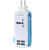 ingrosso usb multi outlet-Travel Power Strip Surge Protector con 1 presa 4 Smart USB Porte 5V 4.2A Uscita portatile Multi-Port USB da viaggio
