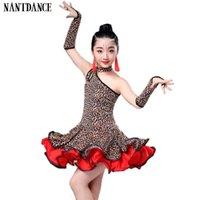 zebra leopar elbisesi kızları toptan satış-Rekabet Kızlar Latin Dans Elbise Kostümleri Çocuk Leopar Tahıl Dans Kostümleri Kızlar Için Latin Elbise Dans