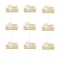 lila geburtstagstorte großhandel-10 Stücke Happy Birthday Cake Topper Kinder Kinder Geburtstag Dekorationen Goldene Silber Lila Blau Kuchen Flagge Party Supplies A3