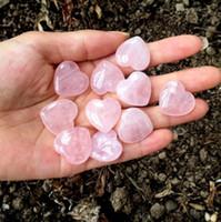 piedra preciosa de cristal rosa al por mayor-Natural Cuarzo rosa En forma de corazón Rosa de cristal Tallado Amor de amor Piedra preciosa Curación Gife Piedra Piedra Cristal Gemas del corazón LX5000