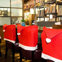 Wholesale covers for chairs for sale - Group buy Christmas Chair Covers Santa Clause Red Hat for Dinner Decor Home Decorations Party Christmas Decoration EEA675