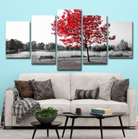 Wholesale red scenery paintings for sale - Group buy Only Canvas No Frame Red Maple Leaf Tree Autumn Scenery Landscape Wall Art HD Print Canvas Painting Fashion Hanging Pictures