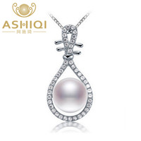 Wholesale natural guitars resale online - ASHIQI Natural pearl necklace sterling silver necklace pendant guitar Freshwater pearl Jewelry for Women