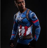 kaptanı amerika külotu toptan satış-Uzun kollu 3d tayt tişörtleri Avengers ittifak iç savaş sıkıştırma spor yaz t-shirt 2017 Captain America 3 tişört erkek