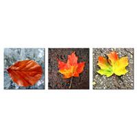 arte da folha de bordo venda por atacado-3 Painéis Maple Leaf Impresso Pintura de Arte Moderna Hotel e Decoração Para Casa Para Sala de estar Fotos Modulares Unframed Presentes