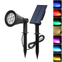 renk değişen güneş yol ışıkları toptan satış-4 LED 7 LED Güneş Spotlight Otomatik Renk Değiştirme Dış Aydınlatma Güneş Duvar Lambası Bahçe Yolu Çim Peyzaj Işık