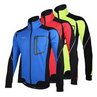 теплый длинный рукав велосипедный трикотаж оптовых-Зимняя куртка с длинным рукавом Теплая Термальная Велоспорт ARSUXEO Ветрозащитная Дышащая Спортивная Куртка Велосипедная Одежда Велоспорт MTB Джерси