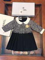 Wholesale best solid doll for sale - Group buy woolen dress Girls designer clothes autumn new kids dress doll collar design classic brooch dress new best