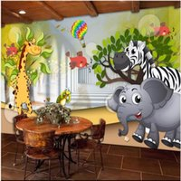Wholesale cartoon pictures for kids for sale - Group buy 3D wall murals wallpaper custom picture mural wall paper D animal mobilization beautiful cartoon children s room kids room mural