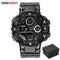 reloj análogo de alarma múltiple al por mayor-Reloj deportivo digital para hombres Tactical impermeable al aire libre LED retroiluminación alarma multifunción gran cuarzo analógico doble pantalla