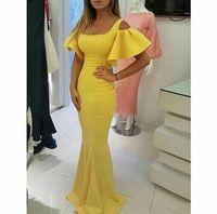 vestidos de baile de finalitos pequenos e inchados venda por atacado-2019 Designer Prom Vestidos Vestidos De Amarelo Quadrado Decote Curto Grávida Vestidos de Baile Puffy Manga Sereia Vestidos de Noite