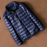ultralight down parkas men toptan satış-Ördek aşağı ultralight ceket erkekler ince aşağı parkas kirpi mont sonbahar kış palto rüzgarlık rahat üstleri artı boyutu m-4xl toptan ucuz