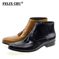 männer stiefeletten schwarz leder groihandel-FELIX CHU Modedesigner echtes Leder Mens Ankle Boots High Top Zip Männer Kleid Schuhe Schwarz Braun Man Grund Troddelaufladungen