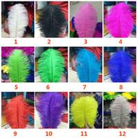 centrais de prateleira de avestruz de casamento venda por atacado-Pena de Avestruz Plume Penas Coloridas Para Artesanato Costume Suprimentos Mesa de Casamento Centrais de Aniversário 12 Cores Escolha HH9-2119