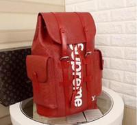 Wholesale denim school bag resale online - Damier Backpack Toile Macassar Christopher PM Man Designer SUP Backpack travel sport backpacks leather school bag
