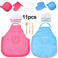 Wholesale chefs toy resale online - Kitchen Toy Kids Chef Set DIY Cooking Baking Suit Toys Set Pretend Play Clothes Apron Gloves Hat Cooker Play Set Gift for Kids