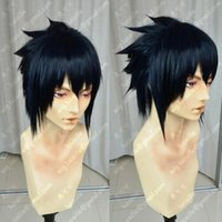Wholesale naruto cosplay wigs resale online - Naruto Uchiha Sasuke Short Ink Blue Centre parted Heat Resistant Cosplay Wig