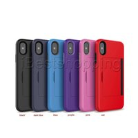 Wholesale plastic credit cards resale online - For iPhone Pro X XS MAX XR Note10 S10 P30 Lite Mobile Phone Side Credit Card Insertion Luxury Hard PC Soft TPU Back Case Cover Protactor
