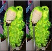 mavi peruk yüksek kalite toptan satış-Yüksek kaliteli Floresan Yeşil cosplay peruk kırmızı / sarışın / mavi / bordo brezilyalı tam dantel peruk kadınlar için isıya dayanıklı sentetik saç peruk
