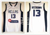 camisetas de baloncesto juvenil al por mayor-Hellas # 13 Giannis Antetokounmpo baloncesto Jersey Todo el hombre cosido juventud Fast kid jerseys Envío gratis S-5XL