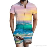 Wholesale mixing color men suit resale online - Summer Men Mixed Color Sets Designer Wave Print V Neck pc Suits d Men New Casual Shorts Fashion Mens Clothing