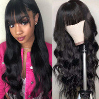 Wholesale curly hair bangs for sale - Group buy Brazilian Loose Deep Straight Human Hair Wigs with Bangs Peruvian Curly None Lace Wigs Indian Hair Malaysian Body Wave