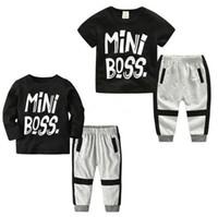 4ed9e7b9a Baby INS outfits boys MiNi Boss letter print top+pants 2pcs set 2018 summer  Boutique kids Clothing Sets B11