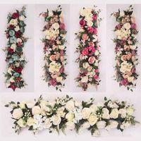 Wholesale foam frames for sale - Group buy 100X25cm Long Artificial arch flower row table Flower Silk Flower with Foam frame runner centerpiece Wedding decorative backdrop