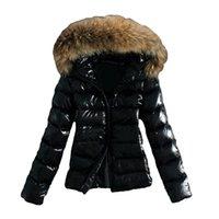 doudoune à capuche en fourrure achat en gros de-Hiver chaud Outwear Femmes col en fausse fourrure à capuchon Zipper Puffer Veste Manteau