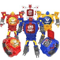 Wholesale abs watches resale online - Hot Action figures selling toy Deformation of the watch robot electronic display creative deformation toy kong children deformation watch