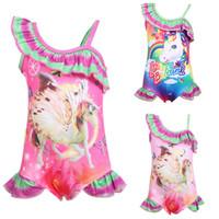 Wholesale fashion swimwear children online - Children Swimwear baby girls rainbow Unicorn print swimsuit summer fashion Bikini Kids One Pieces C6120