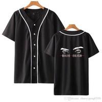 бейсбольная футболка печать оптовых-Billie Eilish Fashion Printed Baseball T-shirts женщины / мужчины 2019 горячая распродажа лето с коротким рукавом повседневная модная уличная футболка