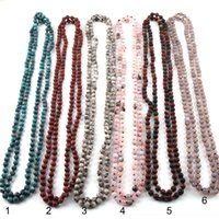 богемские полудрагоценные ожерелья оптовых-Мода чешский ювелирные изделия 150 см 6 мм полудрагоценные камни бусины длинные завязывают ожерелья