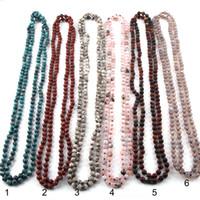 böhmische halb kostbare halsketten großhandel-Mode böhmischen Schmuck 150cm 6mm Halbedelsteine Perlen lange geknotete Halsketten