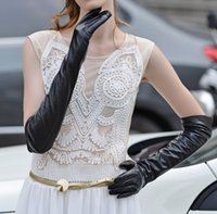 Wholesale long sheepskin leather gloves resale online - Autumn and winter women s Lengthen sheepskin genuine leather gloves lady s thermal warm long black leather gloves
