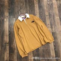 polo morado mujer al por mayor-19ss nuevo arrivel the north bordado Logo púrpura Tag polo camiseta hombres mujeres transpirable moda Streetwear sudaderas al aire libre camisetas