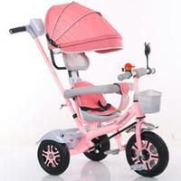 dreirad spaziergänger großhandel-Kind Dreirad Fahrrad 1-2-3-6-jährige Baby Rollstuhl Kinder Fahrrad Drei Räder Kinderwagen 2 In 1 Buggys 3 Rad Kinderwagen Dreirad