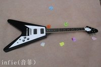 Wholesale high quality new electric guitar resale online - New Arrival High Quality Custom black Flying V shaped strings Electric Guitar In Stock