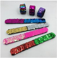 Wholesale bracelets for kids boys resale online - Slap Bracelets For Girls Boys Bling Bling Colors Sequins Mermaid Bracelet Kids Shine Party Wristbands Birthday Gift