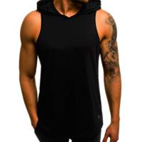 colete desportivo hoodies venda por atacado-Mens designer de t shirt verão nova moda musculação fitness músculos esportes letras imprimir colete sem mangas com capuz desgaste do treinamento